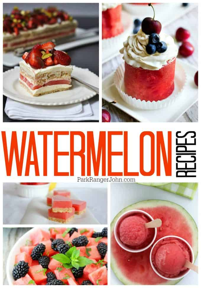 Amazing Watermelon Recipes including watermelon salads, margaritas, party drink, cake and more!