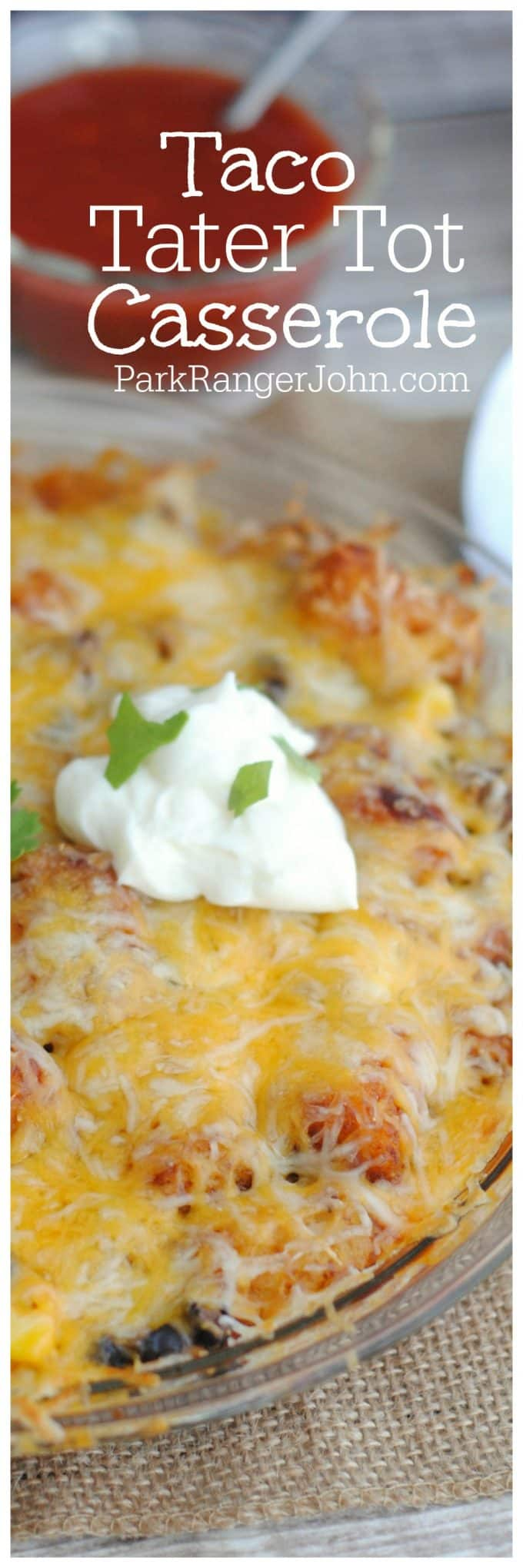 Easy cheesy Taco Tater Tot Casserole Recipe with ground beef.  Easy, Simple comfort food perfect for family dinners.