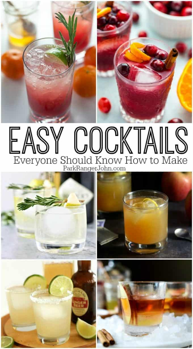 Easy Cocktail Recipes everyone should know how to make including a martini, Manhattan, Moscow Mule, Sangria, Caipriahana, Mimosa, Champagne Cocktail and more