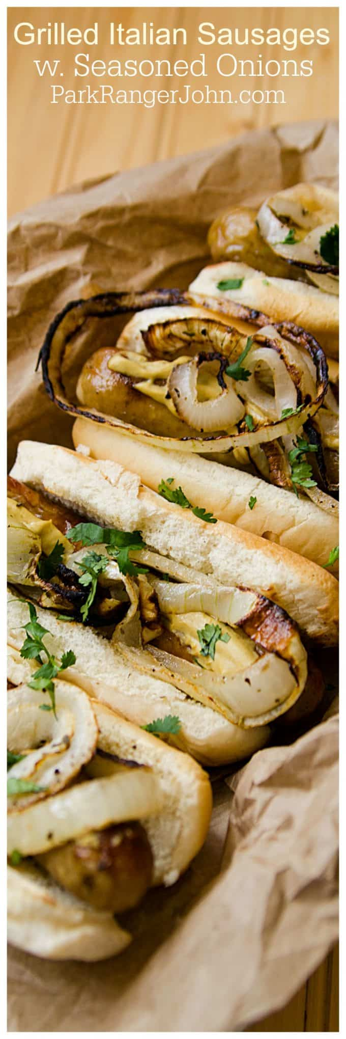 Grilled Italian Sausage Sandwiches with Seasoned Onions Recipe perfect for Fourth of July, Barbecues, Picnic or family dinners. Super easy to make and tastes amazing.