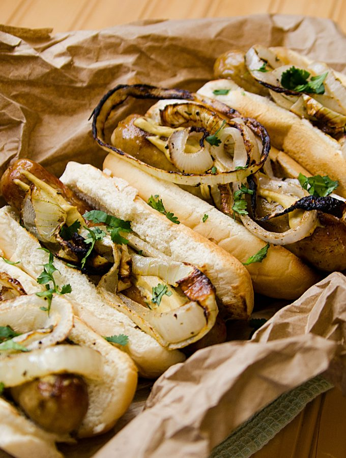 Grilled Italian Sausages with Seasoned Onions Recipe
