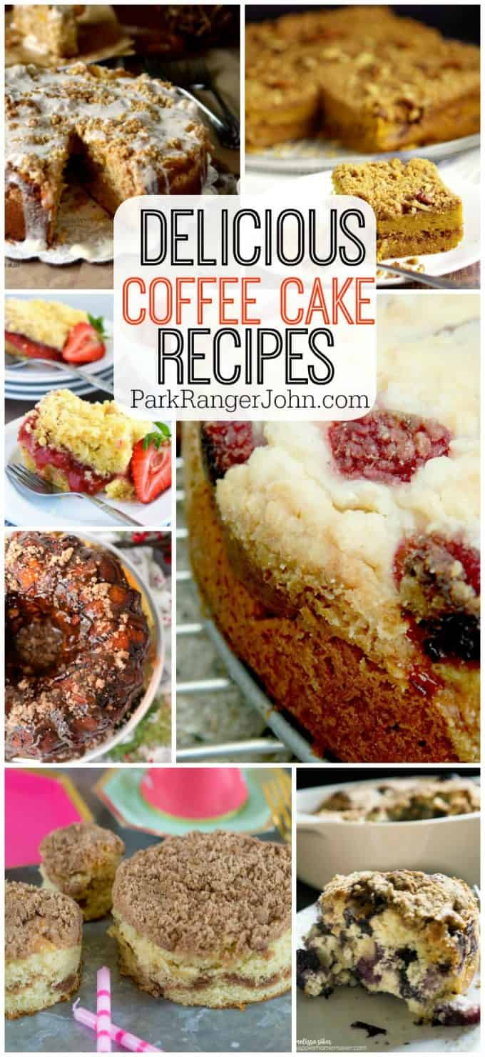 Here are several quick & easy Delicious Coffee Cake Recipies. Whether you like cinnamon, sour cream, crumb, blueberry or even apple, you will find a delicious coffee cake here! #coffee #cake #coffeecake #recipies