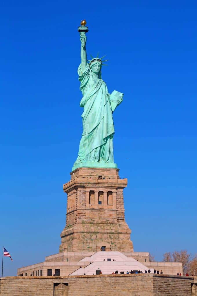 Close up image of the front of the Statue of Liberty. One of the National Parks in New York City