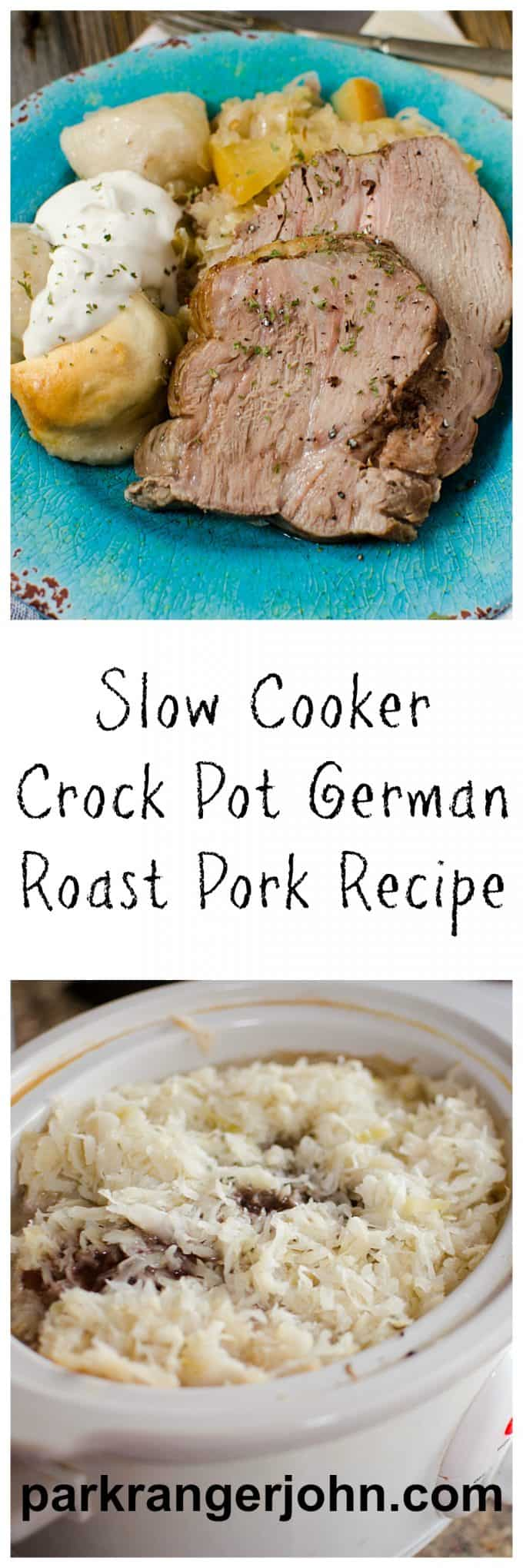 Slow Cooker Crock Pot German Pork Roast & Sauerkraut is one of my favorite dishes. It makes cooking dinners for the family a snap using this easy to follow recipe. #crockpot #slowcooker #recipes #roast #pork