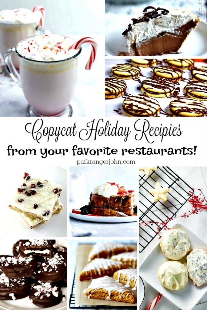 Delicious Copy Cat Holiday recipes from your favorite restaurants! Some of the copycat restaurant recipes come from your favorite restaurants like Chick Fil A, Applebee's, Cheesecake Factory, Starbucks and McDonald's #copycat #restaurant #recipies #holiday