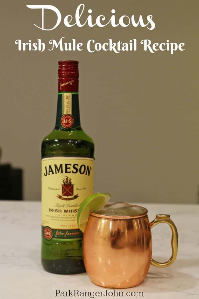This Irish Mule recipe is one of my all-time favorite drinks! Whether you want to celebrate Saint Patricks Day or feel like you were transported to Ireland, this simple to make cocktail only requires Jameson, Ginger Beer,  and fresh Lime Juice #irishmule #recipe #drink #jameson #cocktail