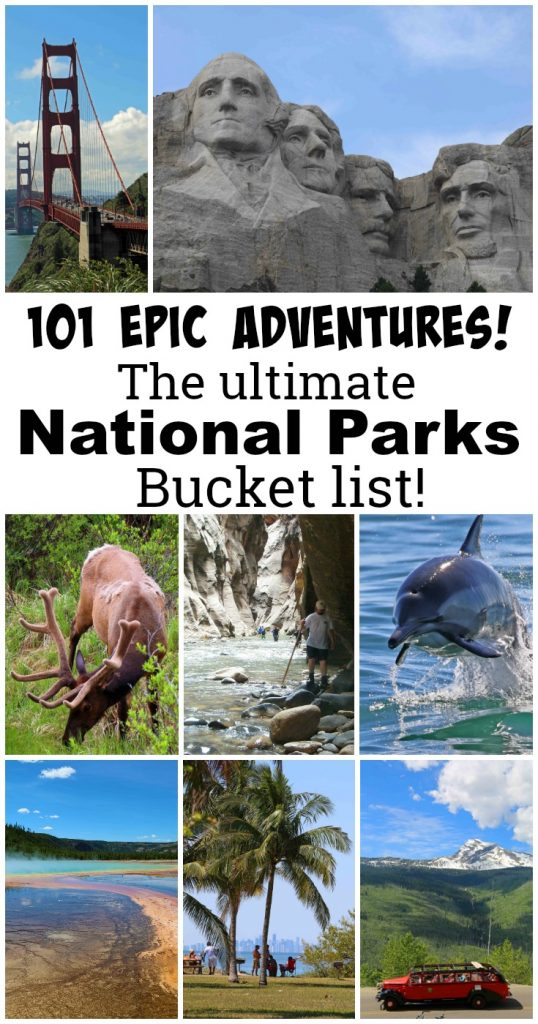 The Ultimate National Park Bucket List with 101 Epic Adventures! The article includes ideas on things to do, places to see, road trips, beautiful places, and destinations! #bucketlist #nationalpark #adventure #roadtrips