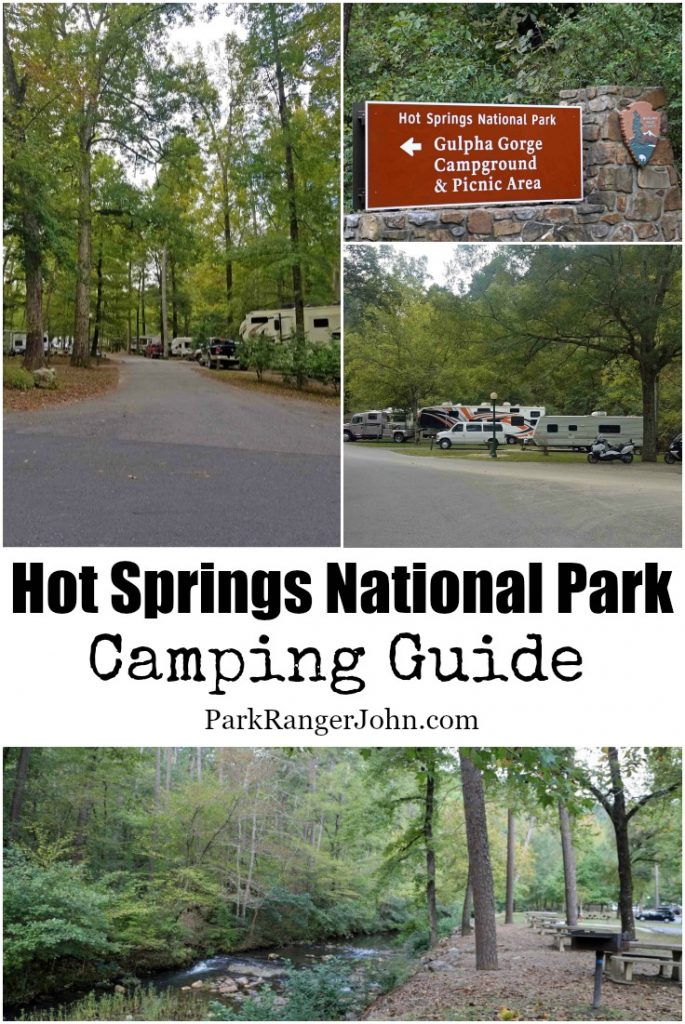 Hot Springs National Park is located in Hot Springs Arkansas. Camping is allowed at the Gulpha Gorge Campground and is a great updated campground. Here you can also visit the picnic area, go hiking and even hand out in Gulpha Creek. #HotSprings #Arkansas #camping #gulphagorge