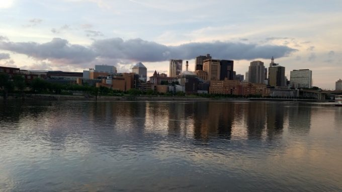 Mississippi River on a grew day with the skyline of Minneapolis in the backround