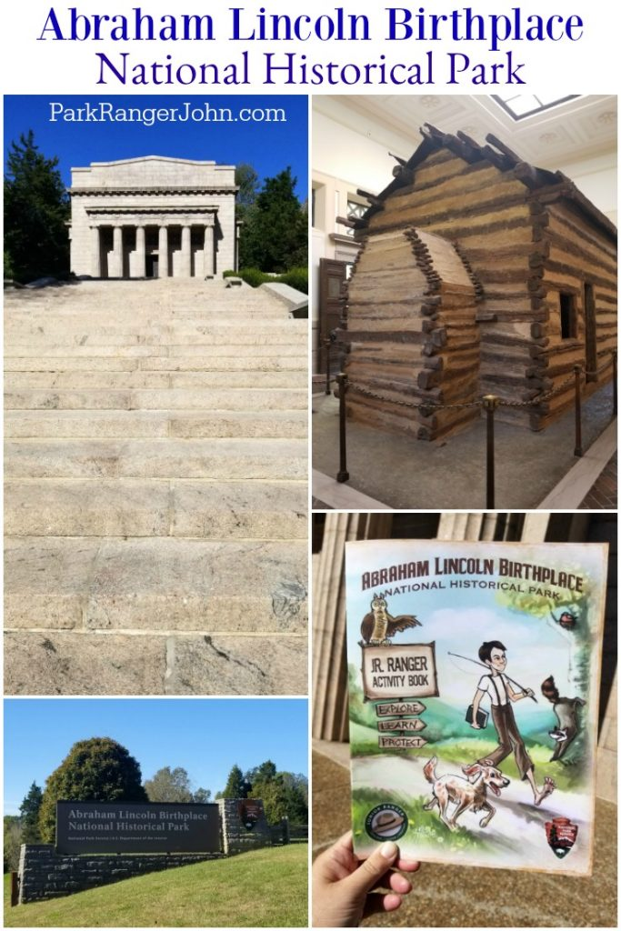 Abraham Lincoln National Historical Park neo classical building housing a log cabin, junior ranger booklet and park sign.