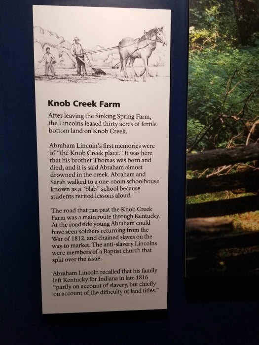 Abraham Lincoln National Historical Park Knob Creek Farm Sign