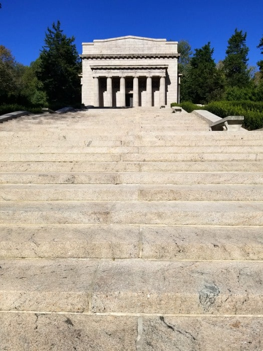 Abraham Lincoln National Historical Park neo classical memorial building with steps leading up to it