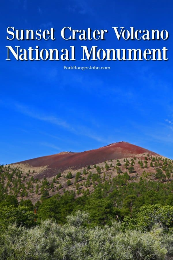 Sunset Crater Volcano National Monument with a bright blue background