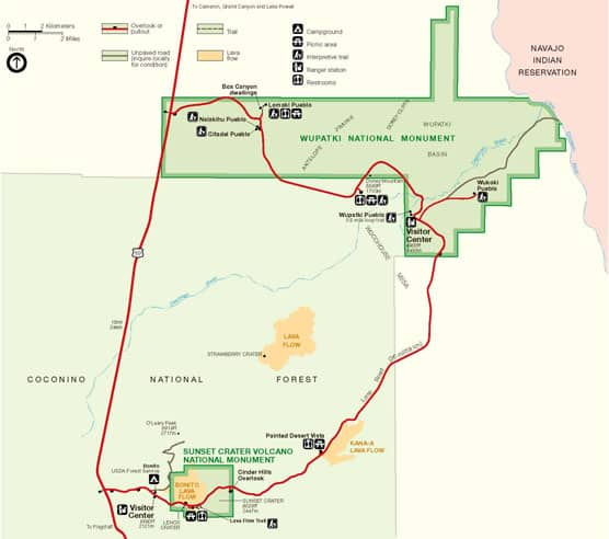 NPS Map of Wupatki national Monument and Sunset Crater Volcano National Monument linked by a scenic road