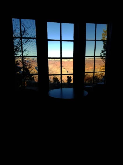 Sunrise over the Grand Canyon from inside a window