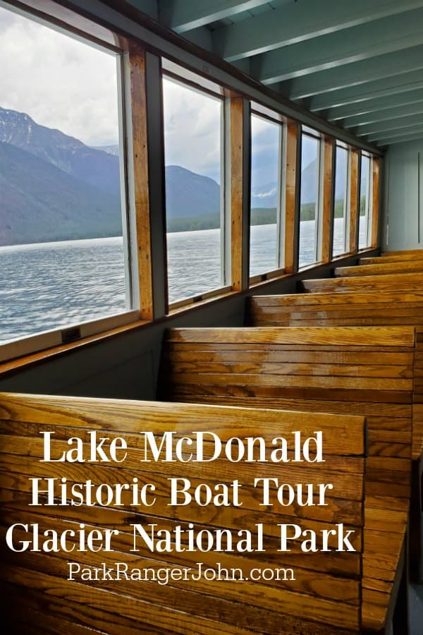 Wooden boat seats on the Lake McDonald Boat Tour