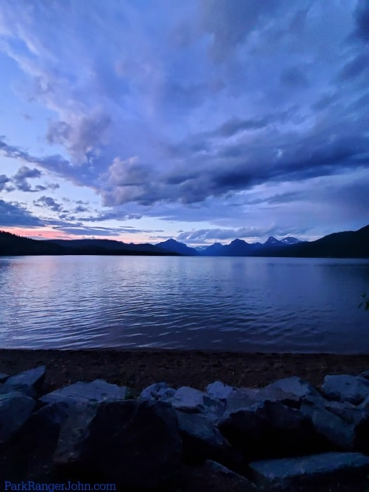 Sunset over Lake McDonald in Glacier national park, montana